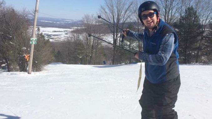 WRVO reporter Payne Horning trying his hand a skiing at Toggenburg Mountain in Fabius last year. Photo courtesy of Pam Cantine.
