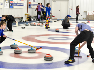 People curling at the Utica Curling Club in Whitesboro. Photo courtesy of Utica Curling Club.