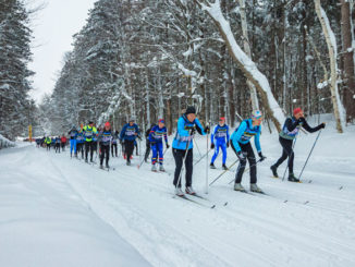 Winona Forest Tourathon draws Nordic skiers who enjoy lake effect snow augmented by snow machine flakes. Photo: Brad Smith, courtesy of Oswego County Tourism Department.