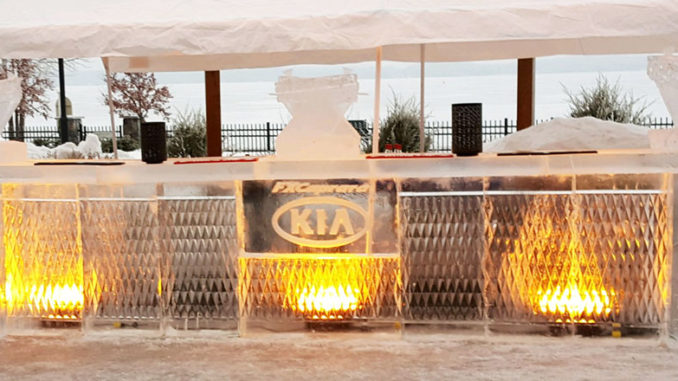 A bar made of ice at Fire & Ice Celebration at 1000 Islands Harbor Hotel.