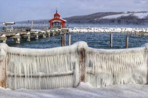 This icy railing is in Watkins Glen at south end of Seneca Lake. Courtesy John Kucko.